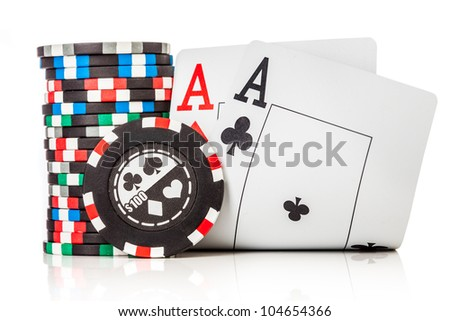 chips and two aces isolated on a white background - stock photo