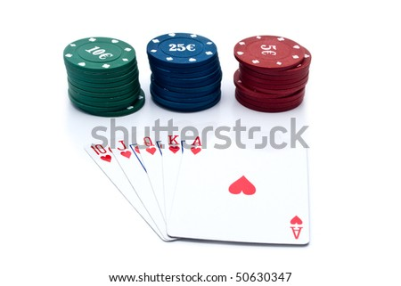 chips of poker and playing cards on a white background for your illustrations