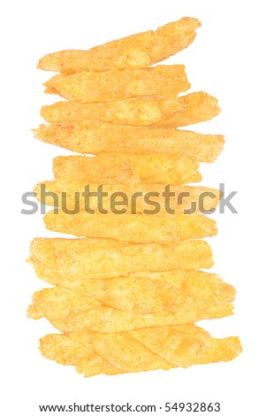 Chips on a white background. - stock photo