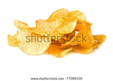 chips on a white background - stock photo