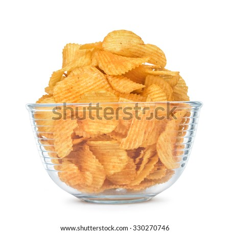Chips with stelianos pepper in a bowl isolated on white background - stock photo