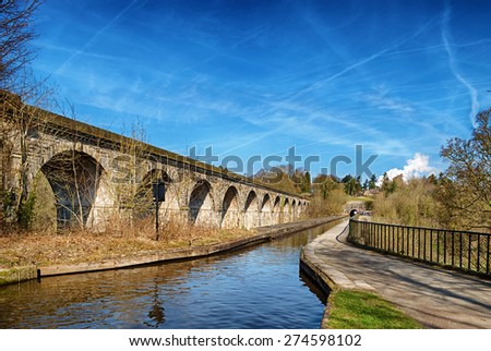 Chirk viaduct and aquaduct. - stock photo