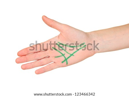 Chiromancy.Color contours on palm, isolated on white - stock photo