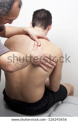 chiropractic treatment - stock photo
