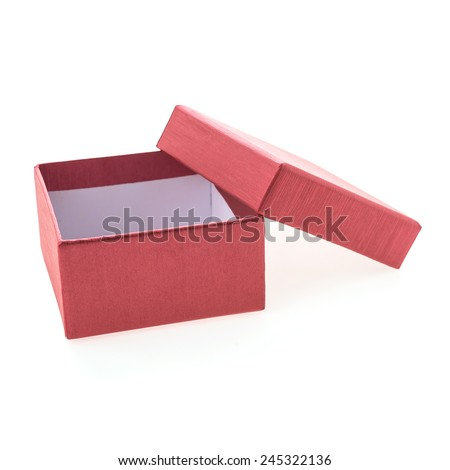 Chirstmas red box isolated on white background - stock photo