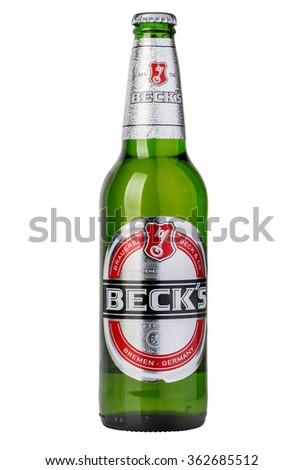 CHISINAU, MOLDOVA - December 21, 2015  Becks beer isolated on white background. Becks brewery was founded in 1873 in Bremen, Germany. - stock photo