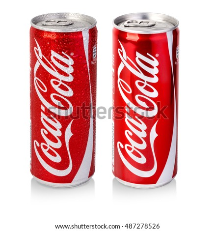 Chisinau, Moldova - December 08, 2015:  Editorial photo of Classic Coca-Cola can on White Background. Coca-Cola Company is the most popular market leader in Turkey.