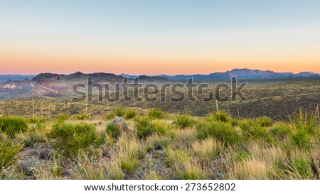 Chisos Mountains from Sotol Vista on the Ross Maxwell Scenic Drive at sunrise, Big Bend National Park, Texas. - stock photo