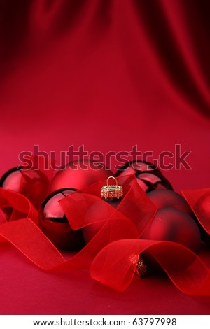 Chistmass ball on silk background - stock photo