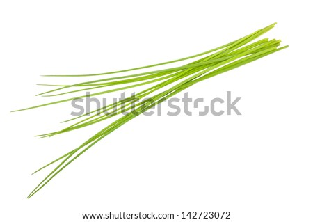 Chives bunch isolated on white - stock photo