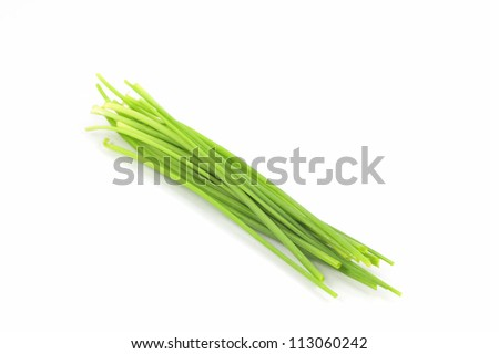 Chives On White Background - stock photo