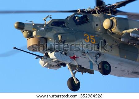 CHKALOVSKY, MOSCOW REGION, RUSSIA - JANUARY 19, 2012: Mil Mi-28N 35 YELLOW of Russian Air Force at Chkalovsky. - stock photo