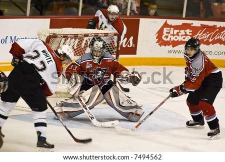 CHL Hockey Action - Halifax Mooseheads versus Drummondville Voltigeurs (Dec 2, 2007) - stock photo