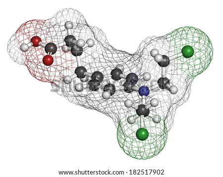 Chlorambucil leukemia drug molecule. Nitrogen mustard alkylating agent mainly used to treat chronic lymphocytic leukemia (CML). Atoms are represented as spheres with conventional color coding. - stock photo