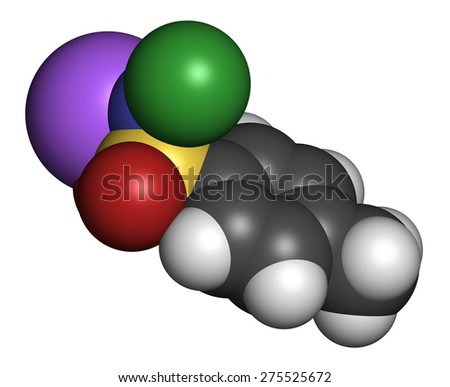Chloramine-T (tosylchloramide) disinfectant molecule. Atoms are represented as spheres with conventional color coding: hydrogen (white), carbon (grey), oxygen (red), nitrogen (blue), etc  - stock photo