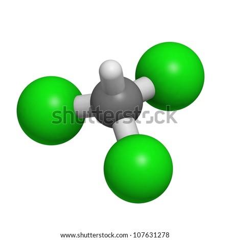 Chloroform Solvent Molecule Chemical Structure Atoms Stock