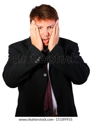 Chocked businessman - stock photo