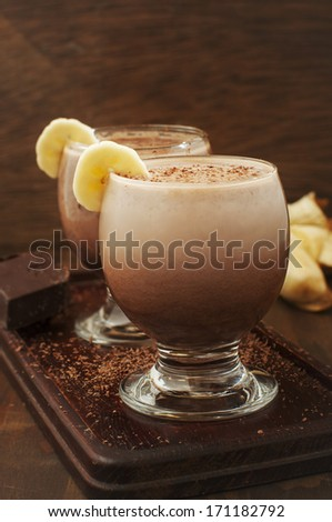 chocolate and banana milk cocktail - stock photo