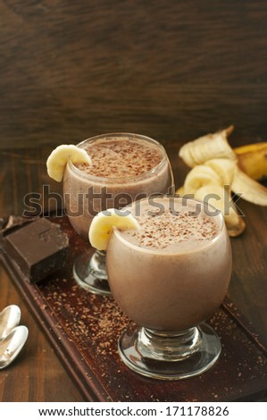 chocolate and banana smoothie - stock photo