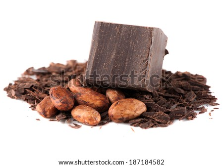 Chocolate and cocoa beans over White - stock photo