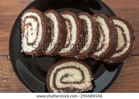 Chocolate and Coconut Dessert - stock photo
