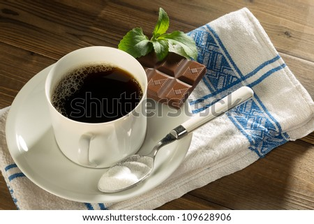 Chocolate and coffee sweetened with natural stevia and no sugar - stock photo