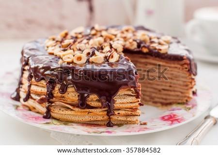 Chocolate and Hazelnut Crepe Cake, Maslenitsa - stock photo