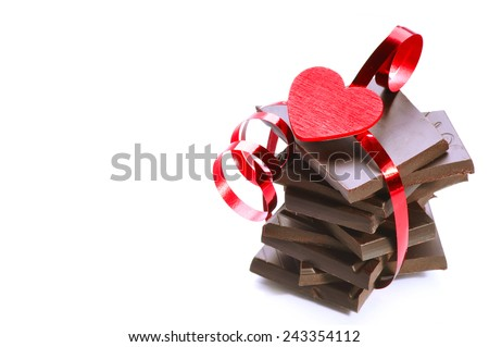 Chocolate and heart - stock photo