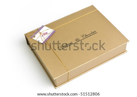 chocolate and praline luxury box with candy and sweets - stock photo