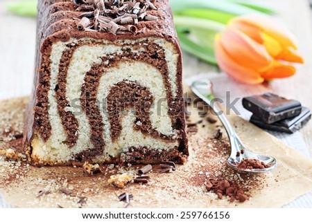 Chocolate and vanilla cake. Selective focus. - stock photo
