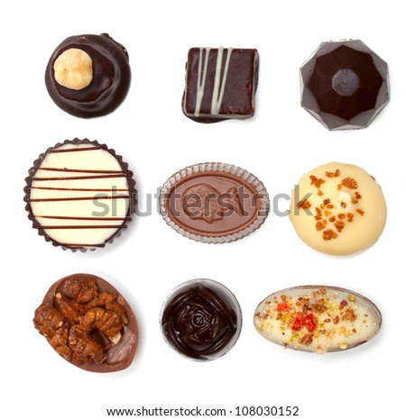 chocolate assortiment isolated on white background - stock photo