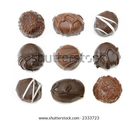 Chocolate Assortment isolated on white background - stock photo