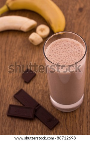 Chocolate banana smoothie - stock photo