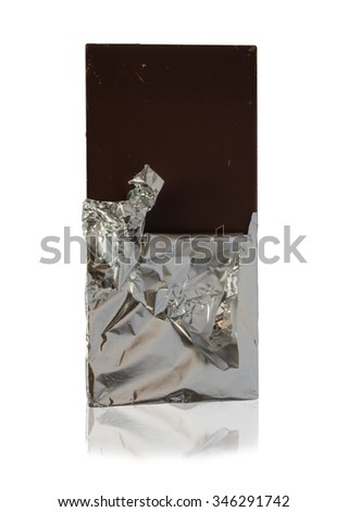 Chocolate bar in foil isolated on a white background