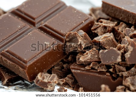 chocolate bar on white background - stock photo