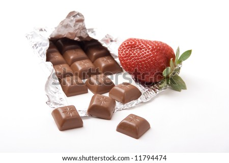 chocolate bar with a fresh red strawberry