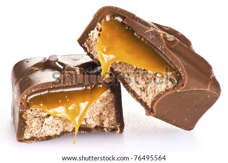 Chocolate bar with caramel isolated on white - stock photo