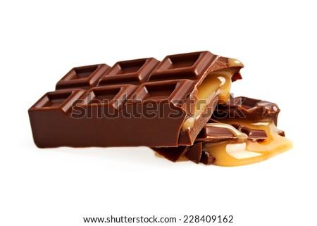 Chocolate bar with caramel isolated on white background - stock photo