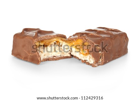 chocolate bar with caramel on white - stock photo