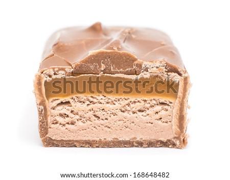 Chocolate Bar With Caramel On White Background - stock photo