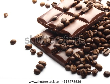 chocolate bars and coffee beans - stock photo