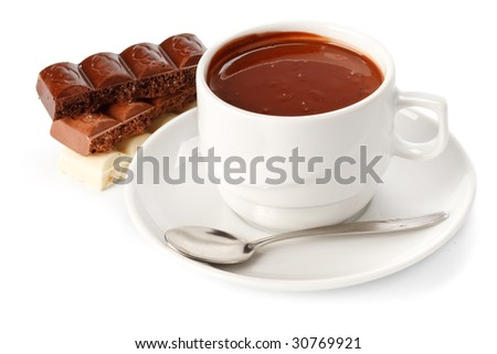Chocolate bars and cup of hot chocolate on a white background