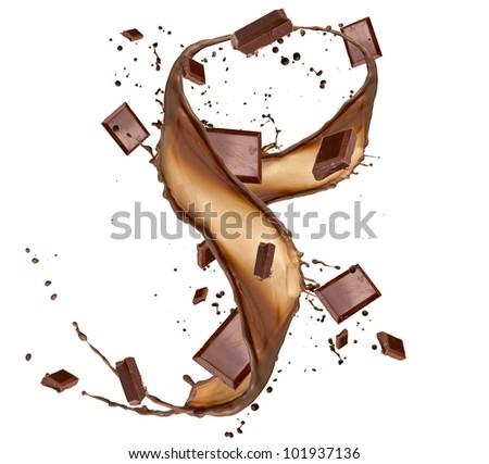 Chocolate bars in chocolate splash, isolated on white background - stock photo