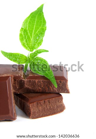 chocolate bars isolated over white surface