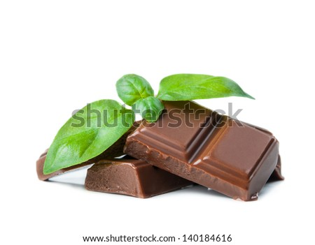 Chocolate bars with basil isolated on white background