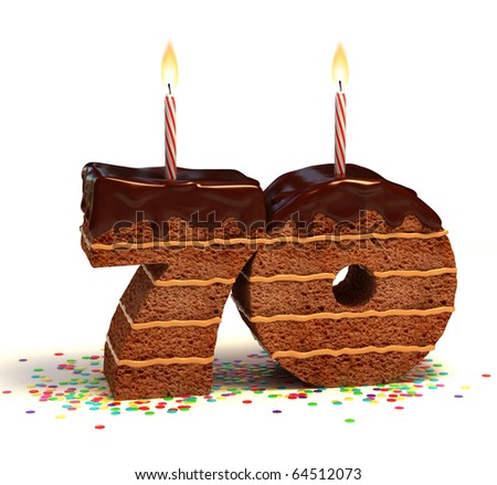 Chocolate birthday cake surrounded by confetti with lit candle for a seventieth birthday or anniversary celebration - stock photo