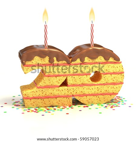 Chocolate birthday cake surrounded by confetti with lit candle for a twentieth birthday or anniversary celebration - stock photo