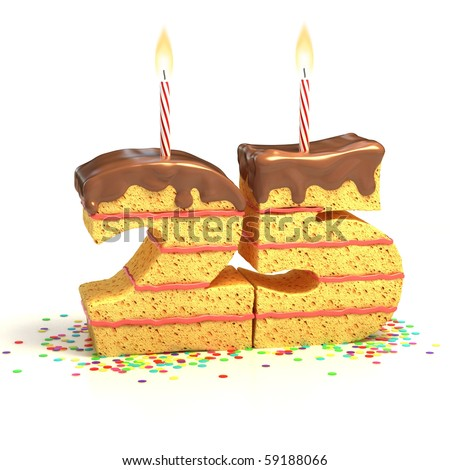 Chocolate birthday cake surrounded by confetti with lit candle for a twenty-fifth birthday or anniversary celebration