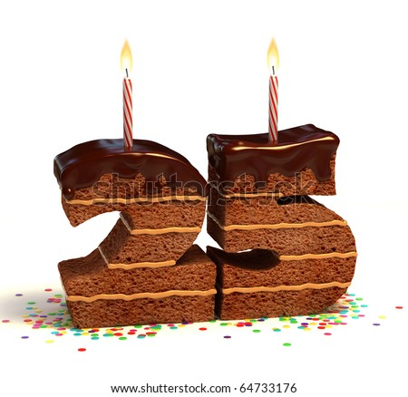 Chocolate birthday cake surrounded by confetti with lit candle for a twenty-fifth birthday or anniversary celebration - stock photo