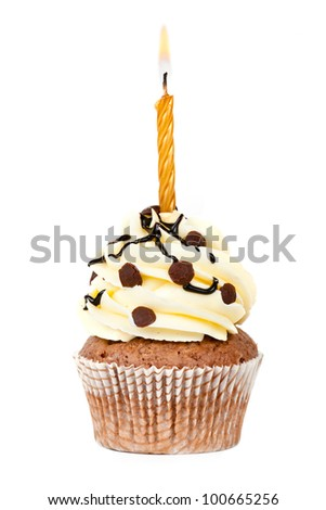 chocolate birthday cupcake - stock photo